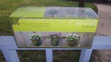 "Enchanted Garden Trio Ceramic pot/plant planter flowers, herbs "" Green Pots"",NIB"