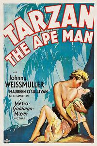Home Wall Art Print - Vintage Movie Film Poster - TARZAN APE MAN - A4,A3,A2,A1