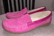 Gabor Soft Moccasin Flats Pink Suede Patent Leather Sz US 8.5 EU 39.5 $149