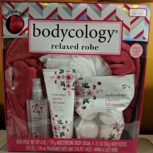 Bodycology Cherry Blossom Gift Set with Relaxed Robe, 5 Piece Set