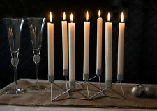 Silver Taper Candle Holder Modern Geometric 7 Arm Table Centrepiece Decoration