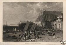 1831= NAPOLI Santa Lucia = Rara Stampa Antica = CAMPANIA = Old Engraving