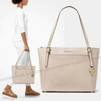 NWT🍭 MICHAEL KORS VOYAGER LARGE EW LIGHT SAND BEIGE LEATHER TOTE SHOULDER BAG