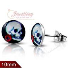 10mm | Stainless Steel 4-tone Skull W/ A Rose Circle Stud Biker Earrings (pair)