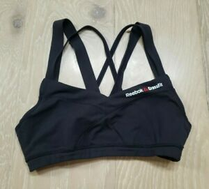 Reebok Women's Small 4 CrossFit Graphic Sport Bra Black Strappy