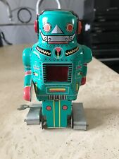Vintage Tinplate Wind-Up Mighty Robot with Spark Clockwork
