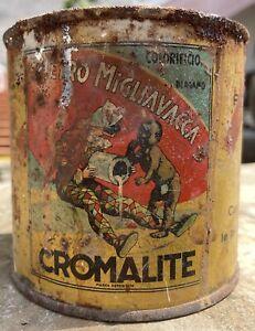 Barattolo latta vernice cromalite Colorificio Migliavacca Bergamo Vintage Antico