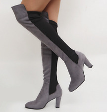 Vintage Punk Sexy Women Knee High Boots Chunky Heel Pull Booties Party Shoe Gray