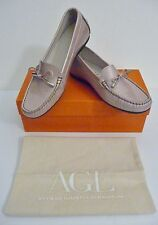 AGL Beige Patent Leather Bow Driving Loafers Size 38.5 8 8.5 B Retail