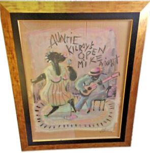 "Painting – ""Auntie Kilroy's Open Mike Night"" Original Art, Painting on Cardboard"