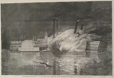Collision Steamboats United States & America Ohio River 1868 Harper's Weekly