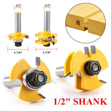 """2Pcs Matched Tongue Groove Router Bit 1/2"""" Shank Woodworking Chisel Cutter Tool"""