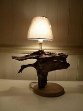 WOODEN TABLE LAMP DRIFTWOOD BOG WOOD UNIQUE RUSTIC ART BULB & SHADE INC. 27-03