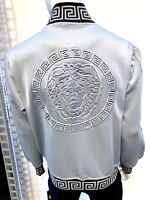 New Mens Shiny Gray Zip Up Jacket Medusa on back with Black Greek Pattern Collar