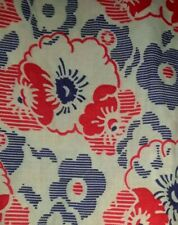 MINT Vintage Full Intact Blue & Red Floral Feedsack