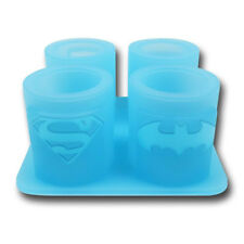 DC Comics Ice Shot Glass Mold Glasses Batman Superman Wonder Woman Tray