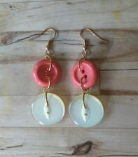 Hand made upcycled goldtone and orange vintage button drop earrings