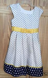 NWOT Jona Michelle Sz 10 Navy Blue Polka Dot Dress Yellow Sash Bow Easter Spring