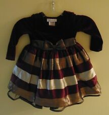 Bonnie Jean Dress Girls 2T Maroon and Gold Christmas Holiday Dress