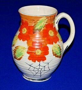 """Art Deco Arthur Woods Large Orange Floral Design Jug Vase. 8.25"""" in Height."""