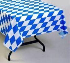 "12 GERMAN OKTOBERFEST PLASTIC DISPOSABLE TABLECLOTHS  54"" X 108"" ~ BLUE DIAMOND"