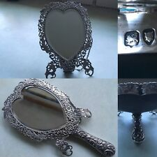 RARE ANTIQUE STERLING SILVER HINGED RAPOUSE HAND MIRROR or STAND HEART C1885