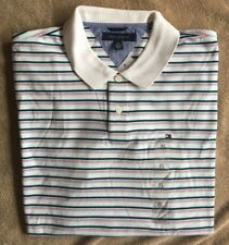 NWT Tommy Hilfiger Men's Classic White Striped 100% Cotton Polo Shirt XL 680494