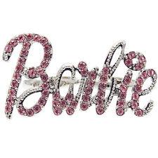 Barbie Doll Cocktail Ring Rhinestone Crystal Pink Accessory Jewelry Adj Size New