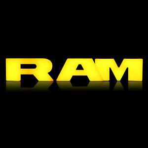 RAM Letters amber LED Lights for 13-18 Dodge Ram 1500 Front Hood Grille