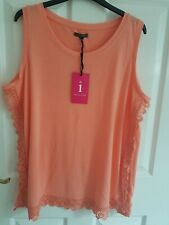 INTUITION Beautiful Womens Blouse Top Apricot Sleeveless Lace Details Sz 16-18