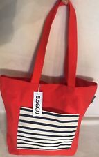WEST ELM BAGGU Canvas Tote Orange w/ Navy & Cream Striped Pocket NWT!