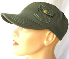 NWT Womens Pocket Cadet Cap Hat Olive100% cotton adjustable military castro HOT!