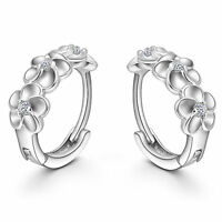 Shiny Solid 925 Sterling Silver Hoop Circle Huggie 3 Flower CZ Earrings Gift