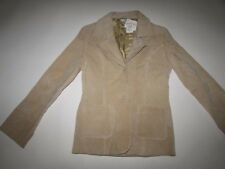 Charlotte Russe Women's 100% Suede Leather Jacket Large NWT Tan Beige 2 Button L