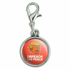 Impeach the Peach Donald Trump Funny Antiqued Bracelet Charm with Lobster Clasp
