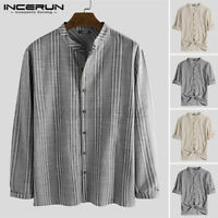 Men Casual Linen Loose Long Sleeve Shirt Collarless Grandad Retro Blouse Tee Top