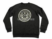Obey Propaganda Men L Brown Worldwide Dissent Star Logo Pullover Sweater