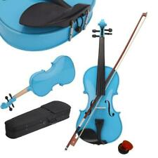 More details for new 4/4 size students acoustic violin with case bow rosin bridge sky blue