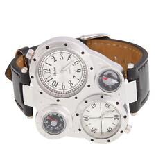 Oulm Men Stylish Military Army Multi-Time Leather Sport Quartz Wrist Watch White
