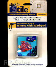 Fish Tropical  6 Cover Tiles Repair Decals Stickers Bath Appliques Shower Blue