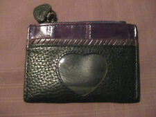 BRIGHTON MINI WALLET COIN PURSE WALLET HEART CUT OUT LEATHER