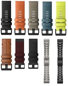 Garmin Quickfit 26 Watch Band Silicone, Nylon, Leather, Titanium all colors