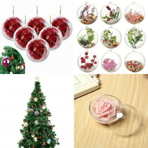 1-10PCS Clear Plastic Balls Christmas Baubles Sphere Fillable Xmas Tree Ornament