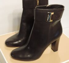New Michael Kors Guiliana Ankle Bootie leather upper zipper stacked heel brown