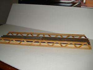 "LIONEL O SCALE RAILROAD VINTAGE  WOOD BRIDGE 20""L x 4""W x 1-1/4""H  4 ALL TRACK"