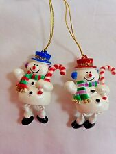 SNOWMAN ORNAMENTS Lot of 2 White Resin Dangling Legs Candy Cane Christmas