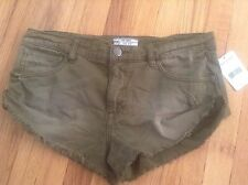 Nwt Free People Cut Out Army Green Jean Shorts Size 28