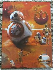 STAR WARS - Force Awakens DROIDS =  BB8 C3PO R2-D2 Home Theater = METAL SIGN