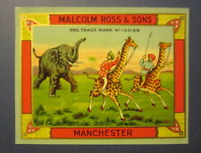 Old Vintage - ELEPHANT GIRAFFE - Fabric Advertising LABEL - Malcolm Ross & Sons