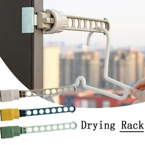 Space Saving Balcony 8 Hole Clothes Hanging Drying Rack Window Frames Hangers
